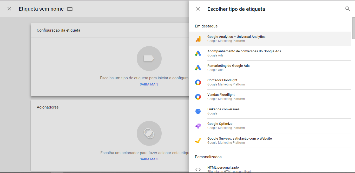 Google Tag Manager Etiquetas